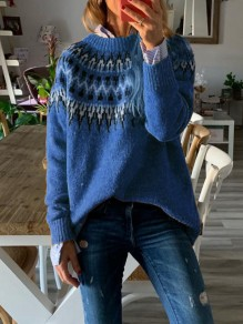 Blue Geometric Print Round Neck Long Sleeve Fashion Pullover Sweater