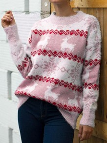 Pink Christmas Print Round Neck Long Sleeve Pullover Sweater