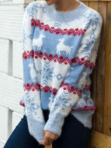 Blue Christmas Print Round Neck Long Sleeve Pullover Sweater