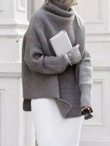 Grey Turndown Collar Long Sleeve Oversize Pullover Fashion Sweater