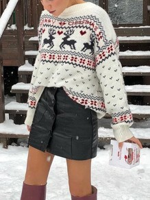 White Elk Floral Christmas Floral Round Neck Long Sleeve Ugly Pullover Sweater