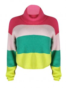 Rose Carmine Colorful Striped Print High Neck Long Sleeve Cute Pullover Sweater