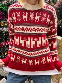 Red Christmas Print Round Neck Long Sleeve Ugly Pullover Sweater