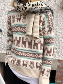 Beige Christmas Print Round Neck Long Sleeve Pullover Sweater