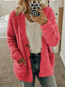 Pink Pockets Single Breasted Fuzzy Long Sleeve Casual Cardigan Sweater