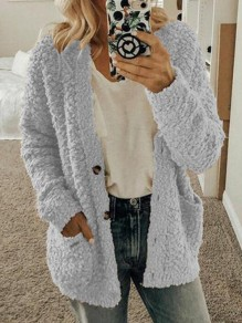 Light Grey Pockets Single Breasted Fuzzy Long Sleeve Casual Cardigan Sweater