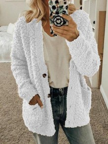 White Pockets Single Breasted Fuzzy Long Sleeve Casual Cardigan Sweater
