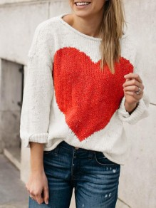 White Heart Print Long Sleeve Round Neck Casual Valentine's Day Pullover Sweater