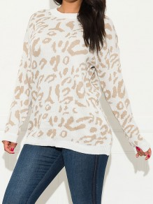 White Leopard Print Round Neck Long Sleeve Casual Pullover Sweater