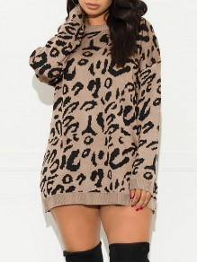 Khaki Leopard Print Round Neck Long Sleeve Casual Pullover Sweater