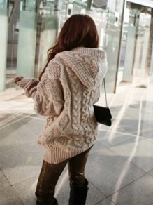 Khaki Patchwork Pockets Oversize Long Sleeve Hooded Daily Cardigan