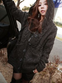 Grey Patchwork Pockets Oversize Long Sleeve Hooded Daily Cardigan