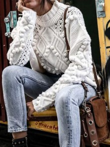 White Fur Ball High Neck Oversized Casual Pullover Sweater