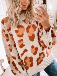 Apricot Leopard Pattern Round Neck Lantern Sleeve Oversized Casual Pullover Sweater
