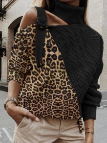 Black-Brown Patchwork Leopard Pattern Irregular Cut Out Belt High Neck Casual Pullover Sweater