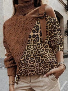 Brown Patchwork Leopard Pattern Irregular Cut Out Belt High Neck Casual Pullover Sweater