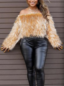 Khaki Faux Fur Off Shoulder Backless Fuzzy Teddy Elegant Party Pullover Sweater