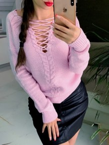 Pink Tie Back Bodycon Comfy V-neck Long Sleeve Going out Sweater
