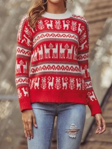 Red Christmas Floral Round Neck Long Sleeve Fashion Pullover Sweater