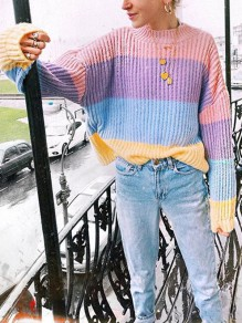 Pink Rainbow Striped Print Round Neck Long Sleeve Cute Pullover Sweater