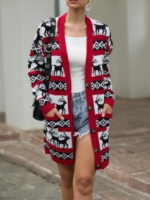 Red Striped Cartoon Elk Pattern Pockets Christmas Single Breasted Cardigan Sweater