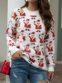 White Santa Claus Print Christmas Round Neck Long Sleeve Pullover Sweater