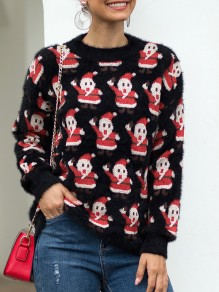 Black Santa Claus Print Christmas Round Neck Long Sleeve Pullover Sweater