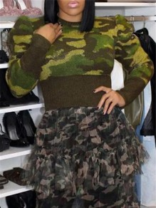 Green Camouflage Print Round Neck Puff Long Sleeve Pullover Sweater