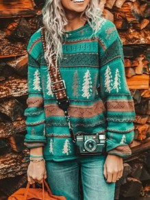 Green Christmas Floral Round Neck Long Sleeve Oversize Pullover Sweater