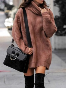 Pink Turndown Collar Long Sleeve Pullover Fashion Long Sweater