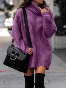 Purple Turndown Collar Long Sleeve Pullover Fashion Long Sweater