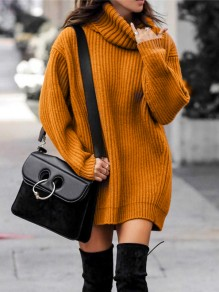 Orange Turndown Collar Long Sleeve Pullover Fashion Long Sweater