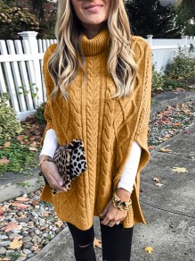 Yellow Patchwork Irregular Double Slit High Neck Fashion Pullover Sweater