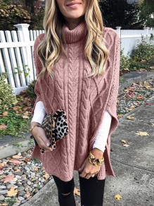 Pink Patchwork Irregular Double Slit High Neck Fashion Pullover Sweater
