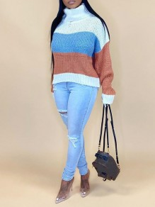 Khaki Striped Print High Neck Long Sleeve Pullover Sweater