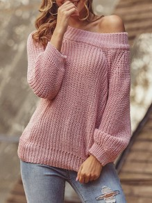Pink Asymmetric Shoulder Bodycon Comfy Long Sleeve Going out Sweater