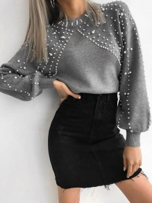 Grey Pearl Round Neck Long Sleeve Oversize Pullover Sweater
