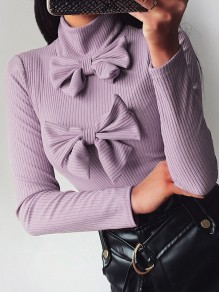 Purple Bow High Neck Long Sleeve Fashion Pullover Sweater