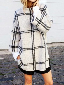 White Plaid Print Round Neck Long Sleeve Fashion Pullover Sweater