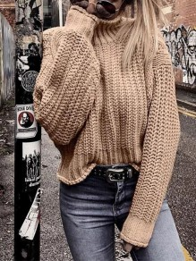 Khaki Patchwork Irregular High Neck Long Sleeve Fashion Pullover Sweater