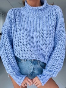 Blue Patchwork Irregular High Neck Long Sleeve Fashion Pullover Sweater