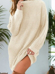 Beige Round Neck Long Sleeve Pullover Oversize Long Sweater