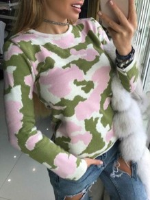 Pink Camouflage Print Round Neck Long Sleeve Casual Pullover Sweater
