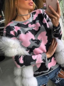 Pink-Black Camouflage Print Round Neck Long Sleeve Casual Pullover Sweater