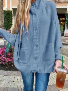 Blue Patchwork Buttons Pockets Band Collar Long Sleeve Fashion Sweater Pullover