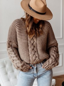 Brown V-neck Long Sleeve Loose Knit Twist Cute Pullover Sweater