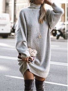 White Patchwork Irregular High Neck Long Sleeve Fashion Sweater Pullover