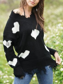 Black-White Love Heart Ripped Destroyed Off Shoulder Valentine's Day Oversized Casual Pullover Sweater