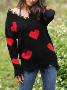 Red-Black Love Heart Ripped Destroyed Off Shoulder Valentine's Day Oversized Casual Pullover Sweater