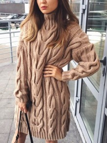 Khaki Patchwork Irregular High Neck Long Sleeve Fashion Sweater Pullover